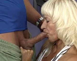 Blonde mature slut getting a face full of cum