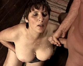 Big titted mature slut fucking in a restaurant