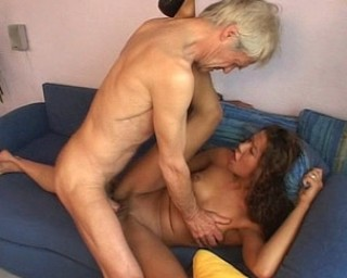 Hot babe fucking and sucking an old guy