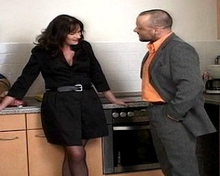 Naughty housewife gets fucked in the kitchen