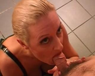 Kinky blonde housewife sucking and fucking