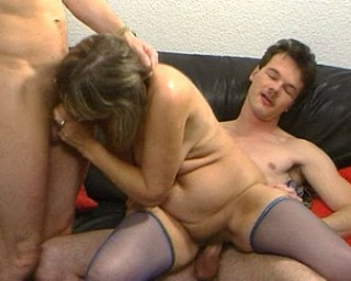 Horny mature slut sucking and fucking two guys